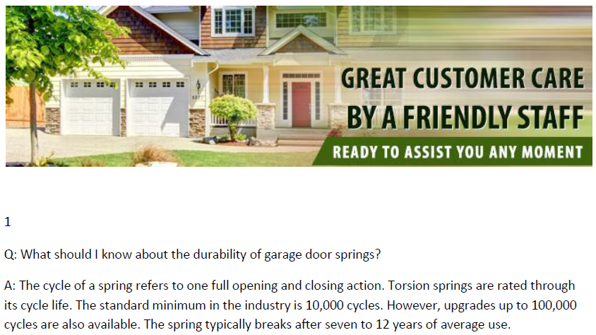 FAQs on Garage Door Springs - Garage Door Repair Watauga